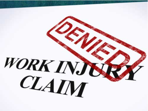 Denied stamped on workers' comp claim