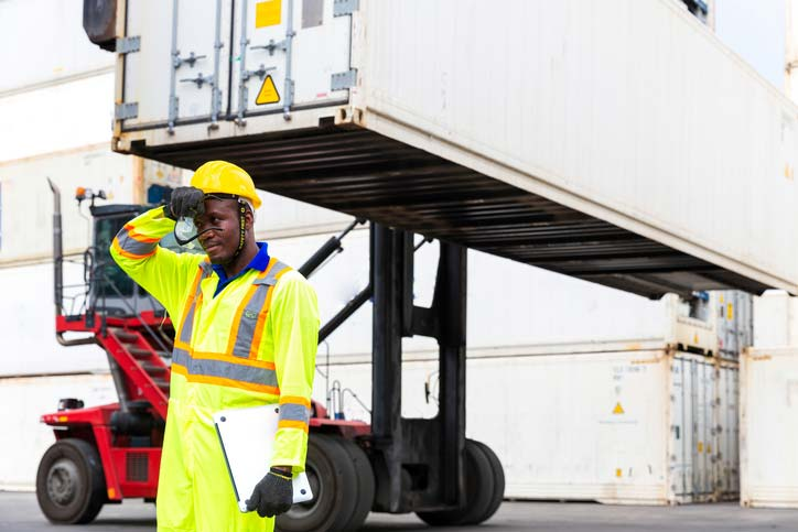 Worker suffering heat-related exhaustion