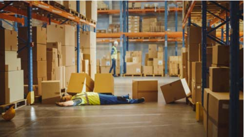 Warehouse worker injured by falling boxes, falling objects