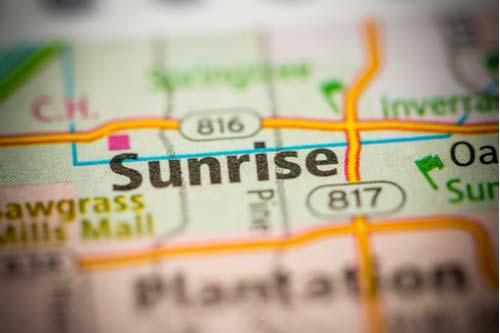 City of Sunrise, Florida on map