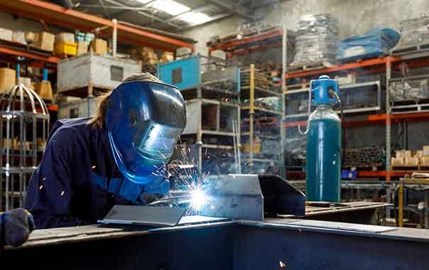 Welder working, concept of welding accidents