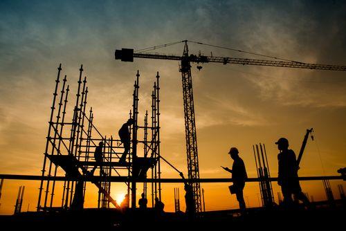 Construction site at dusk concept of construction site accidents