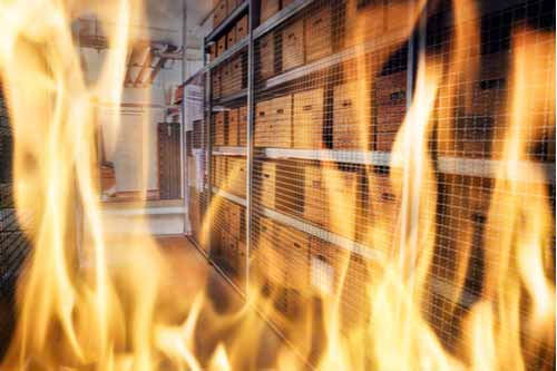 Warehouse fire, concept of workplace fires and explosions
